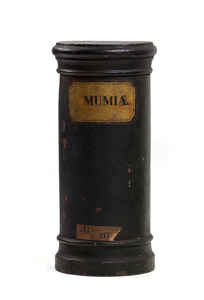 寫有Mumia(木乃伊粉)的藥罐。