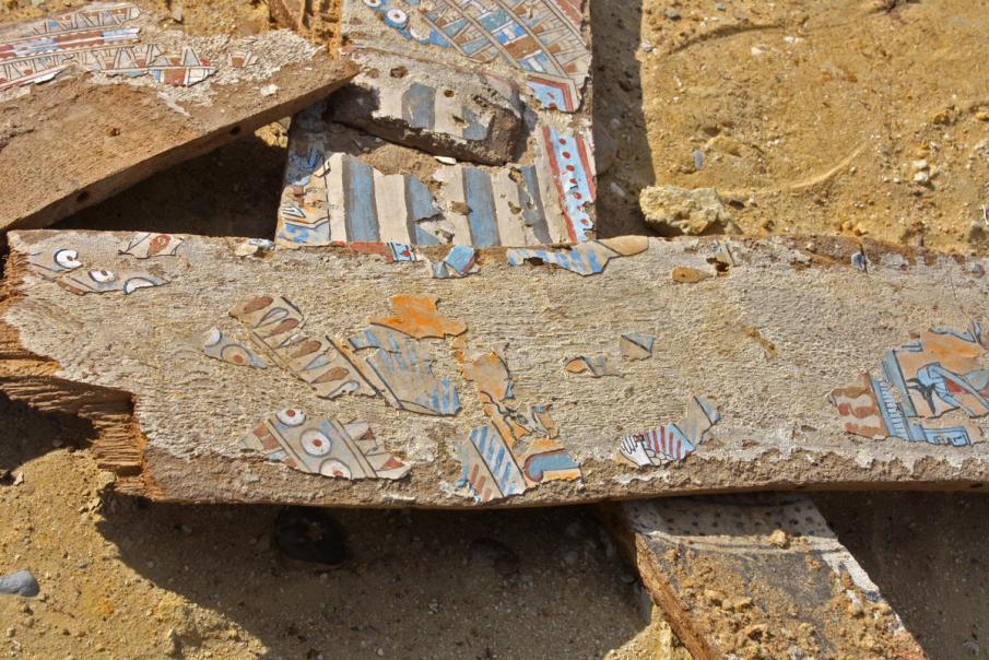 Fragments of a Greco-Roman sarcophagus at Abusir el-Malek