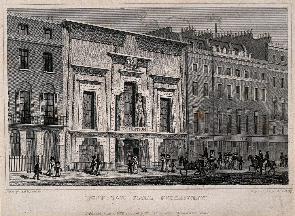 An engraving of Egyptian Hall from 1828, courtesy of the Wellcome Collection